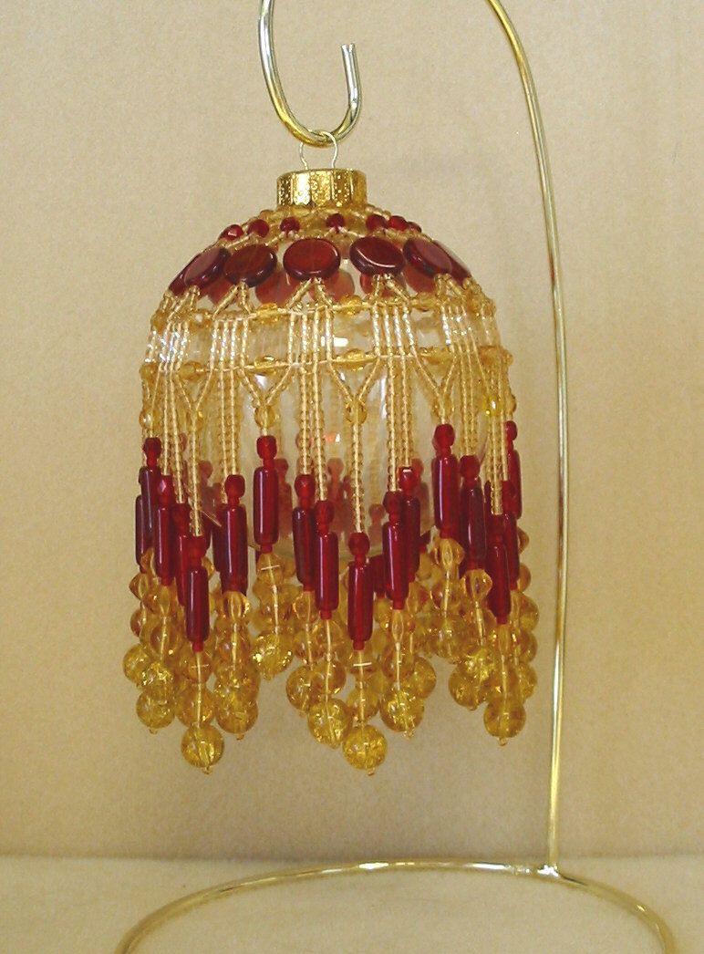 Beaded Fancy Fringed Ornament Cover - Beading Instructions - Golden Ruby by StudioJamie on Etsy https://www.etsy.com/listing/160981006/beaded-fancy-fringed-ornament-cover
