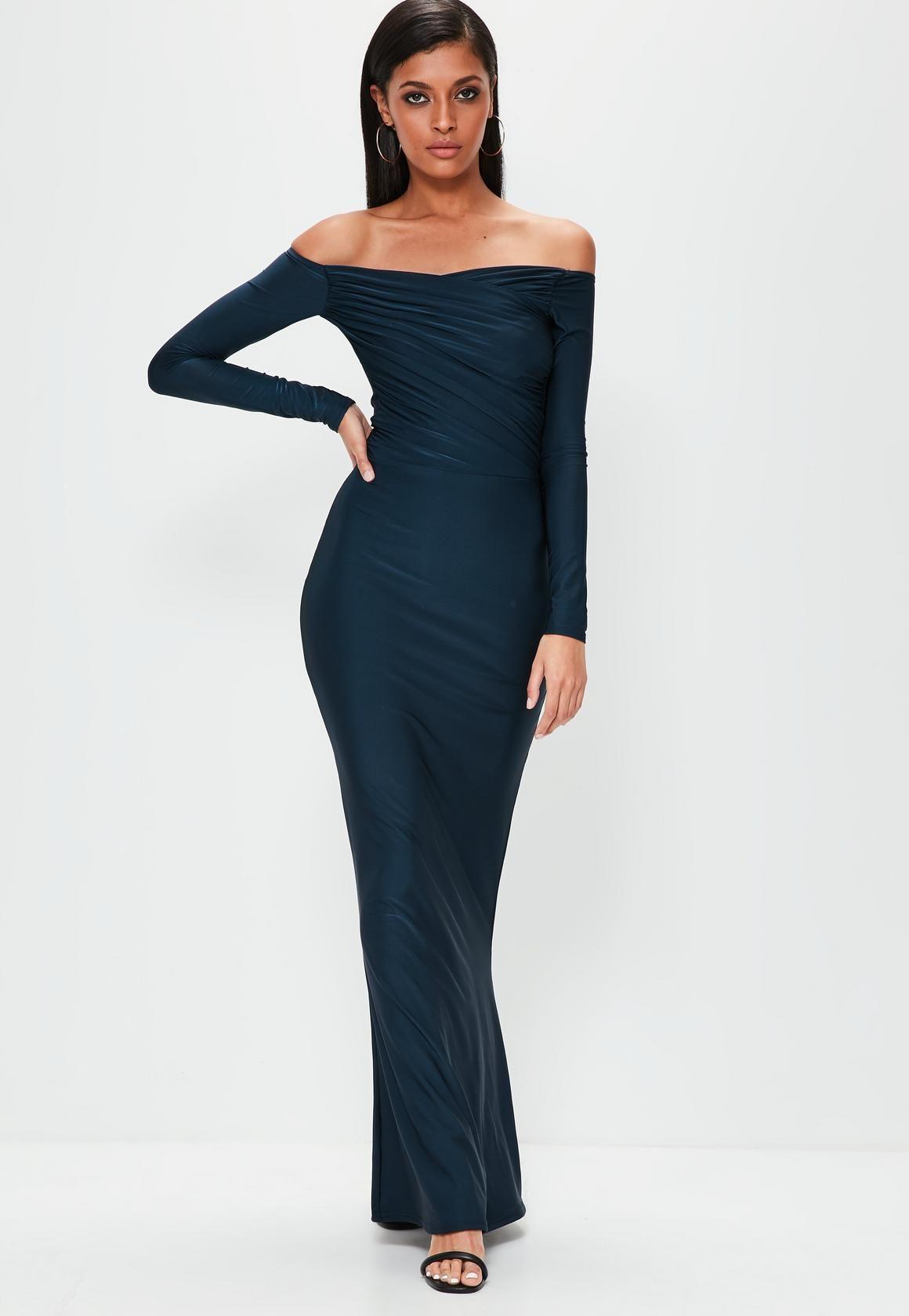 Missguided - Navy Slinky Bardot Long Sleeve Maxi Dress | Tasha\'s ...