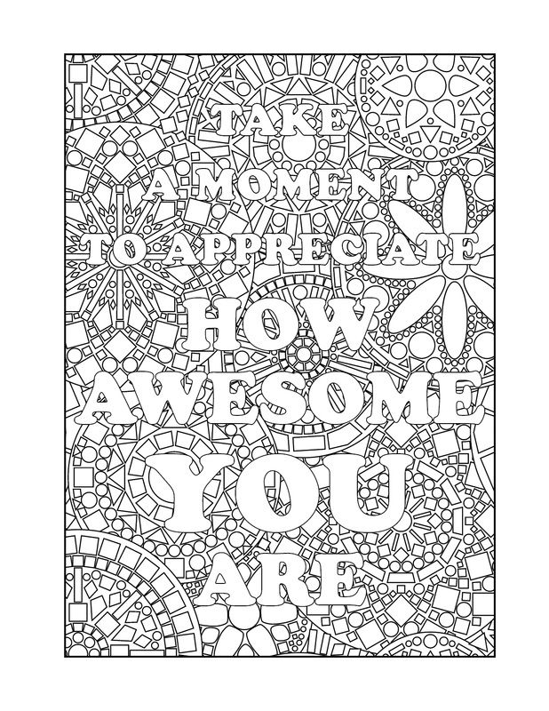 Page From The Books Being In The Now A Colouring Book Which Contains Illustrated Mind Mindfulness Colouring Coloring Pages Inspirational Quote Coloring Pages
