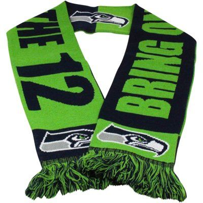 11f96b5059f Seattle Seahawks Slogan Scarf - College Navy Neon Green