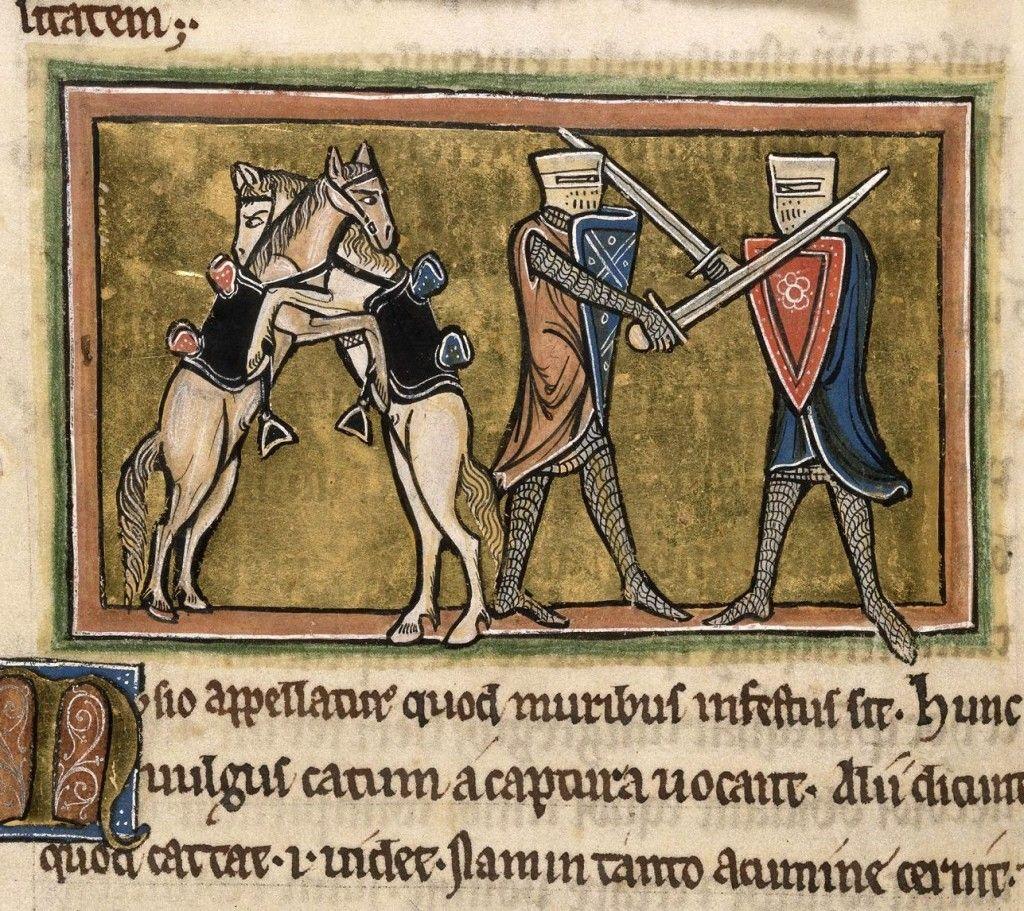 """""""Combattimento tra due cavalieri e i due rispettivi cavalli"""", miniatura tratta da Bestiario (secondo quarto del XIII secolo), British Library, Londra."""
