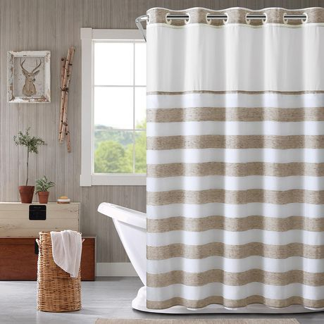 Hookless Yarn Dye Stripe Shower Curtain With Fabric Liner Tan 71 X