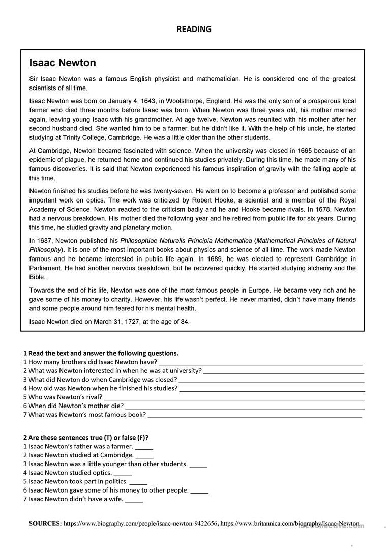 Isaac Newton Reading Worksheet Free Esl Printable Worksheets Made B Elementary Reading Comprehension Reading Comprehension Worksheets Reading Comprehension