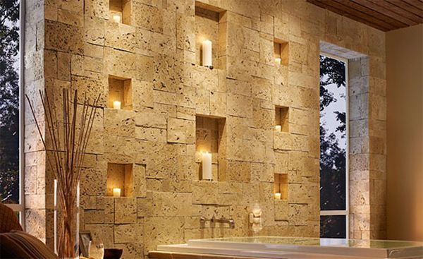 artistic-solid-stone-wall-treatment-modern-bathroom-candle