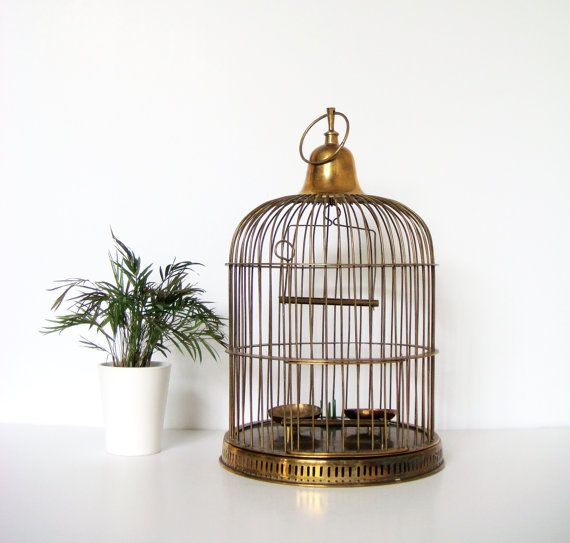 large vintage brass bird cage by finebirdvintage on etsy interior design pinterest. Black Bedroom Furniture Sets. Home Design Ideas
