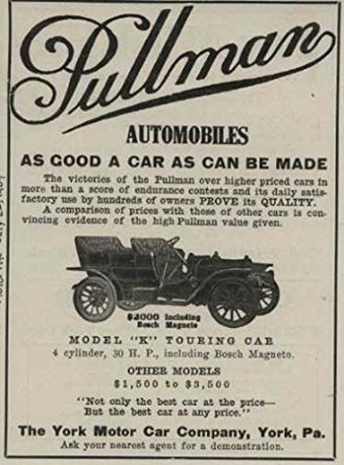1909 Pullman Model K Touring Car York Pa Automobile Magazine Ad Highest Price Car Pullman Car Ads