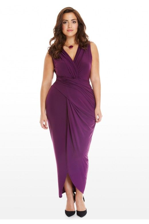 plus size cirrus draped maxi dress | fashion to figure