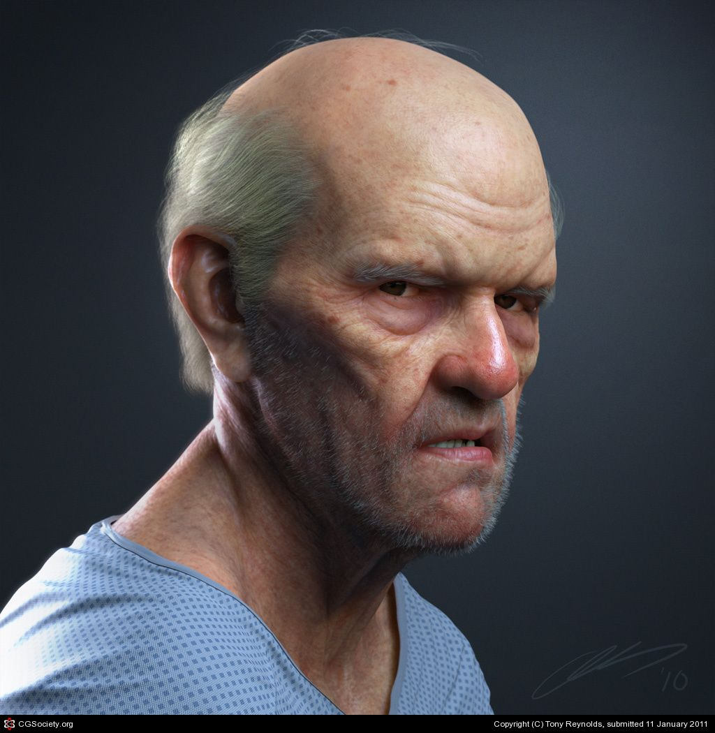 "CGTalk - Portrait of an Old Man, Tony Reynolds (3D), ""This is the final render from my newly released Eat3D tutorial video on creating a realistic portrait in Maya. The model was created in ZBrush and the lighting and rendering was done in Maya with the Mental Ray renderer. The portrait is an age-progressed self portrait and was a blast to make."""