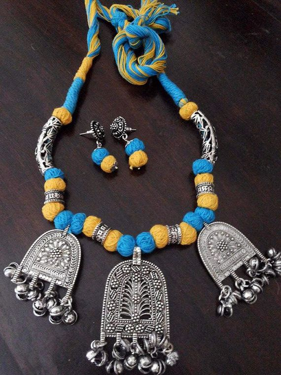 ca9fc86aa Yellow and Blue Dori Necklace Indian Handmade Necklace German Silver  Pendants Thread Beads Necklace