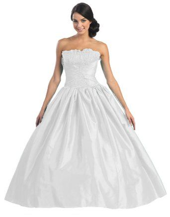 431c8016b1 Ball Gown Strapless Formal Prom Wedding Dress #2567 in White, Ivory ...