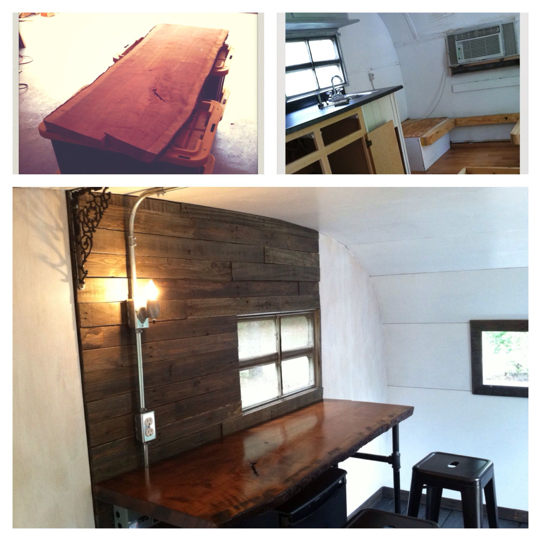 Vintage Camper Remodel Before After Live Edge Wood Counter Pallets Accent Wall