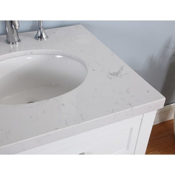 Solana Bathroom Vanity in White Finish with Grey and White Marble