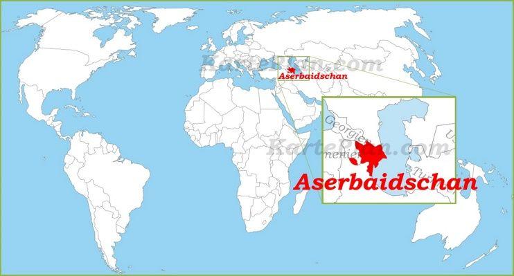 Aserbaidschan Auf Der Weltkarte Weltkarte Karten Aserbaidschan