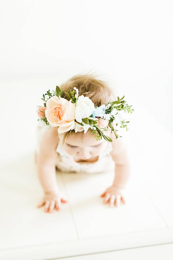 Tieback Flower Crown Bridal Crown Toddler Flower Crown  91dc6abae31