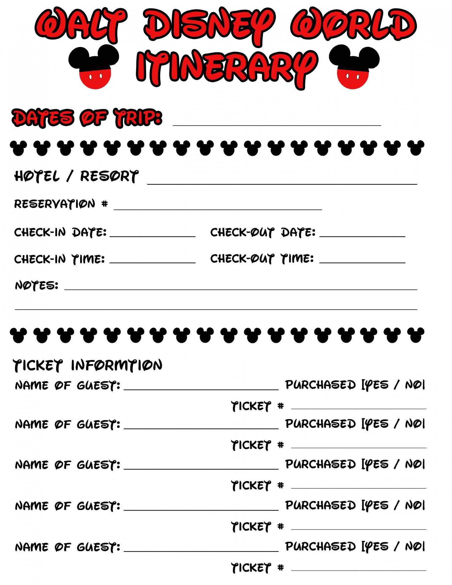 Disney Agenda Amp Itinerary Free Printable With Images