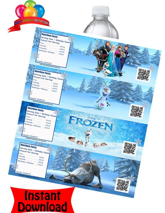 frozen movie water bottle labels instant download 4