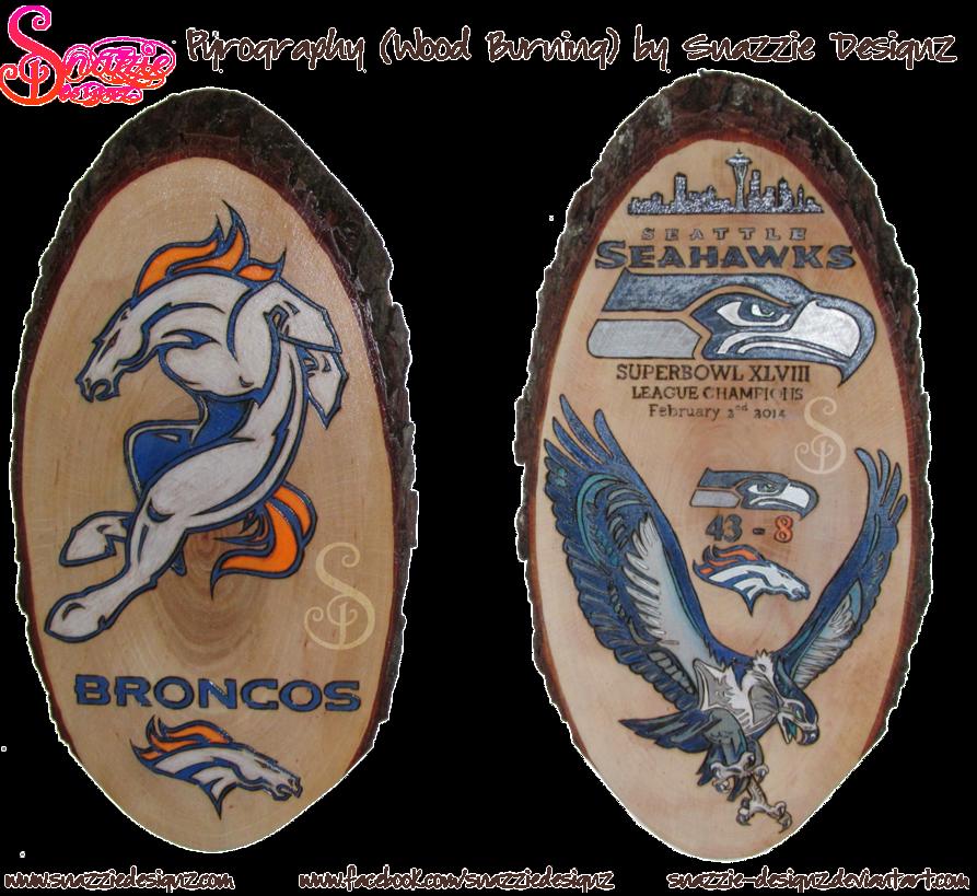 Denver Broncos and Seattle Seahawks Pyrographs Denver