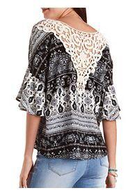 Oversized Paisley & Crochet Top