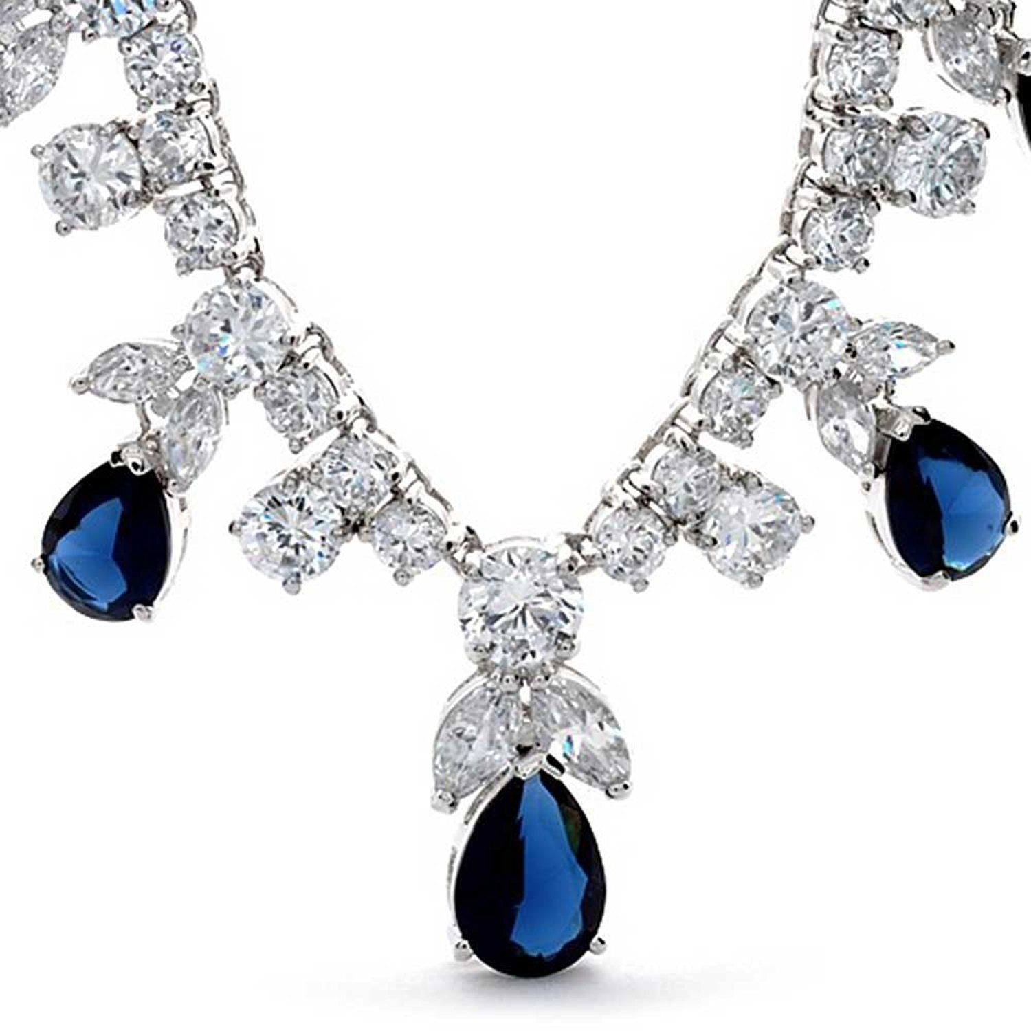 Bling Jewelry Simulated Blue Sapphire Teardrop Clear CZ Jewelry Set Rhodium Plated xbBivak