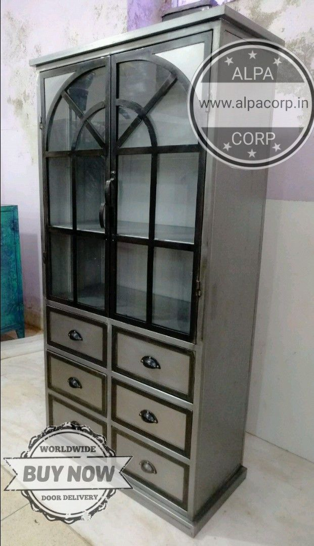 Industrial Glass Door Cabinet With Drawers Industrial Furniture