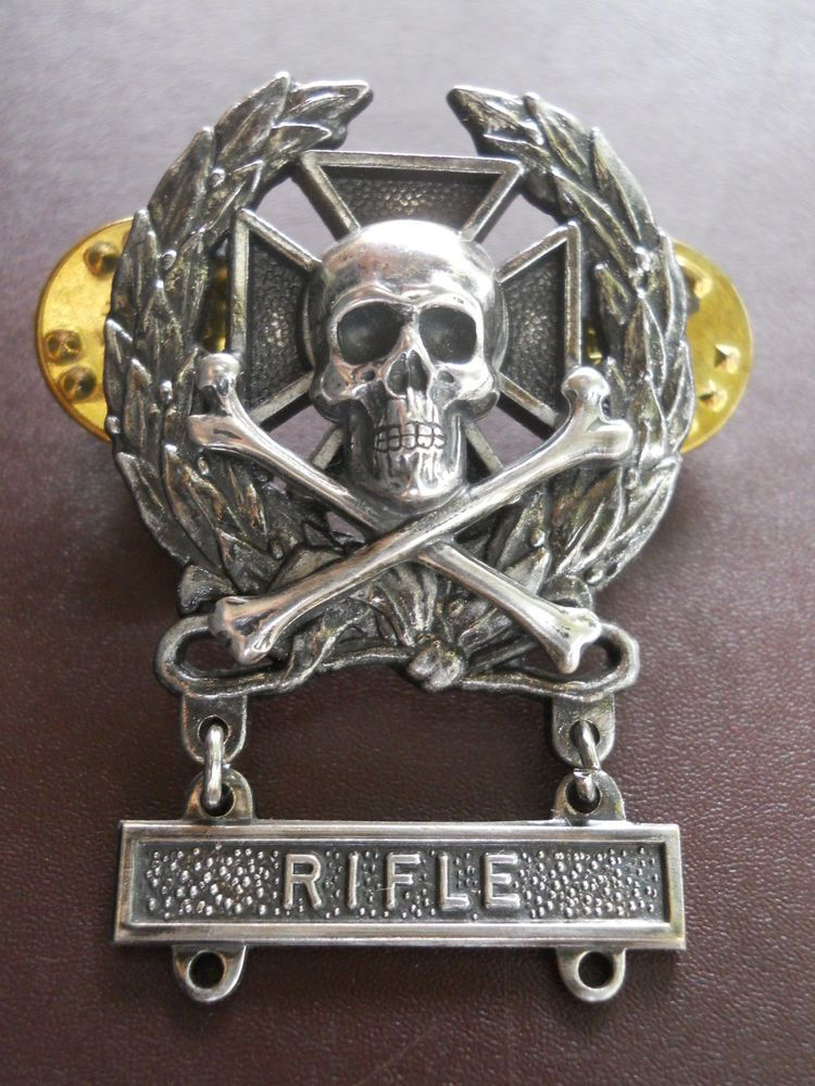 Expert Sniper Skull Badge Pin Rifle Bar US Army Marksman M-24 Medal Insignia