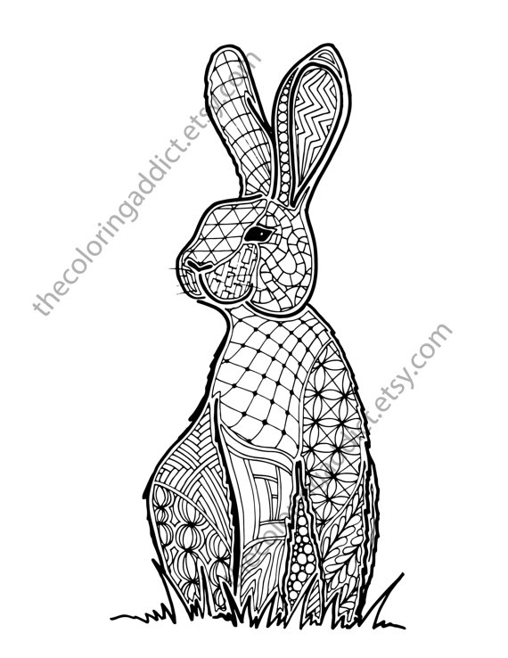 Bunny Rabbit Coloring Sheet Animal Coloring Pdf Zentangle Animal Coloring Books Animal Coloring Pages Zentangle Animals
