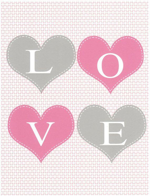 LOVE, Gray and Pink Nursery Art Kids Wall Art Baby Room by vtdesigns ...