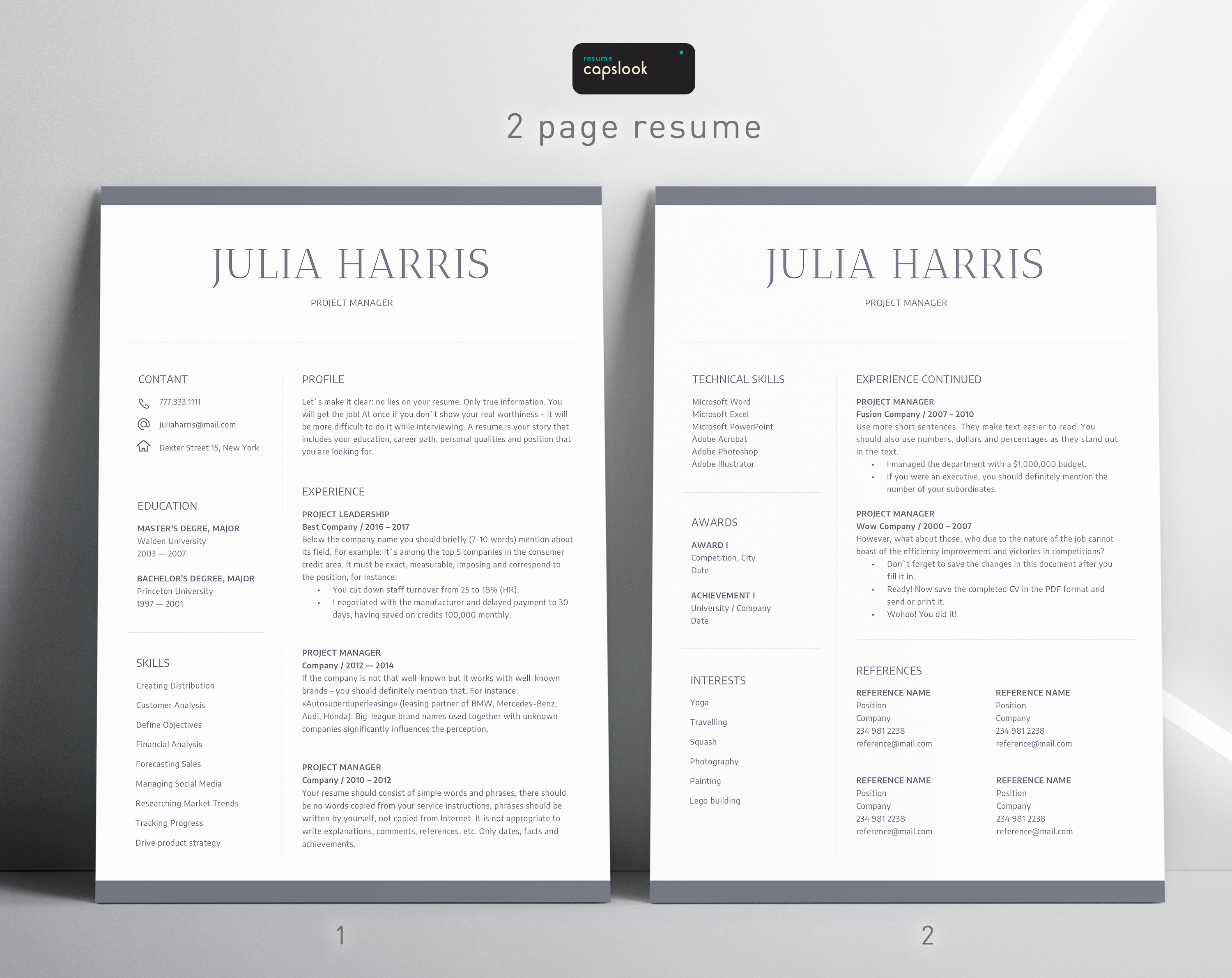 Executive Resume Template, CV Template, Cover Letter
