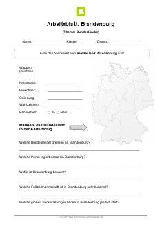 Bundesland Brandenburg Arbeitsblatt | Kostenlose Arbeitsblätter ...