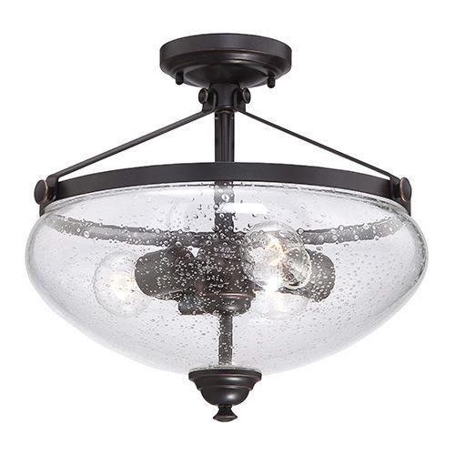 laurel sudbury bronze three light semi flush with clear seeded glass nuvo lighting semi fl - Nuvo Lighting
