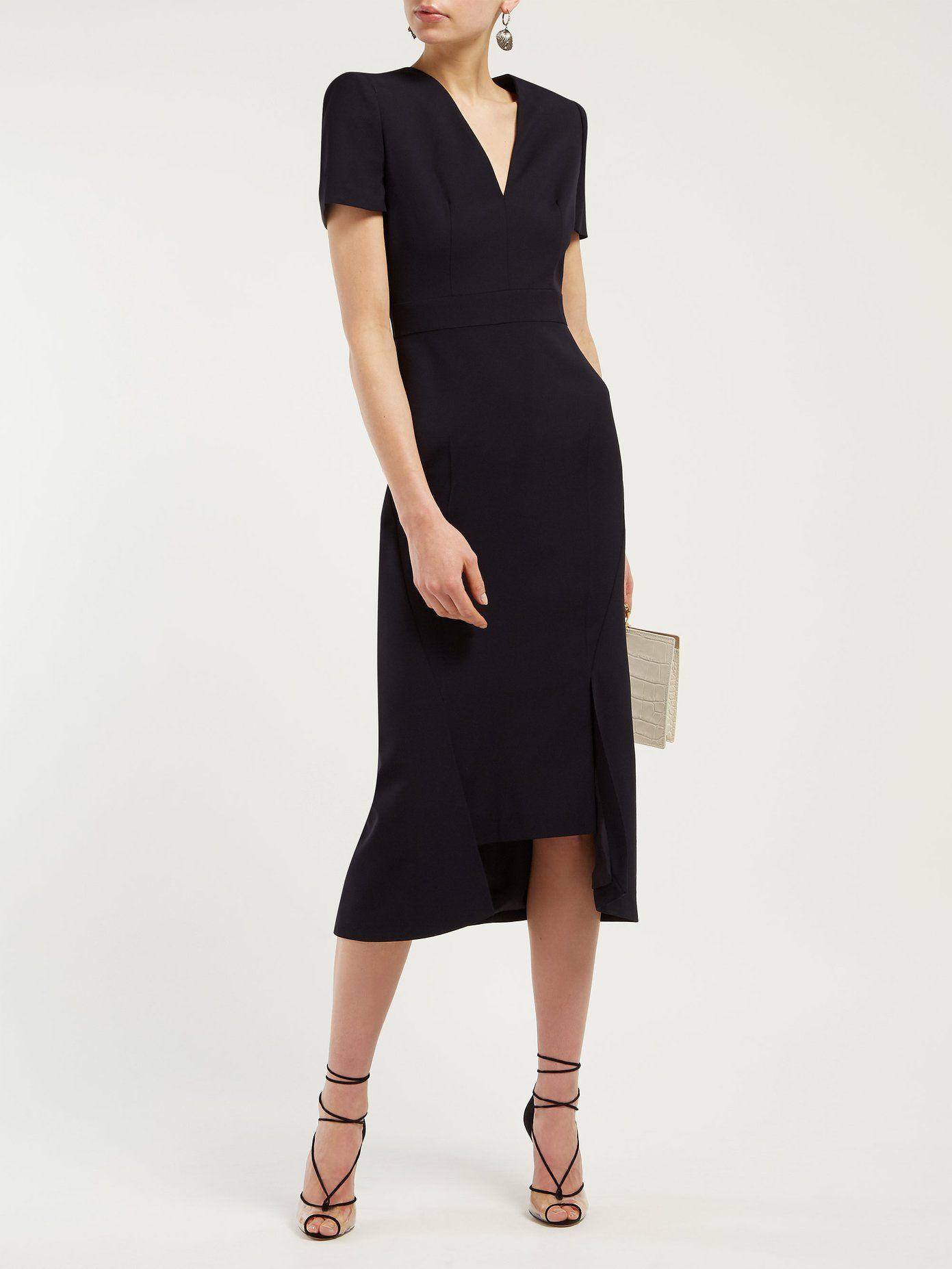 Padded Tailored Twill Midi Dress Alexander Mcqueen