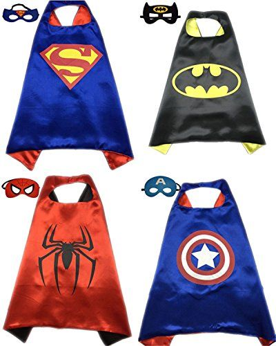 eedf41be970a3 Halloween Batman Costumes] 4 Pack Superhero or Princess CAPE & MASK ...