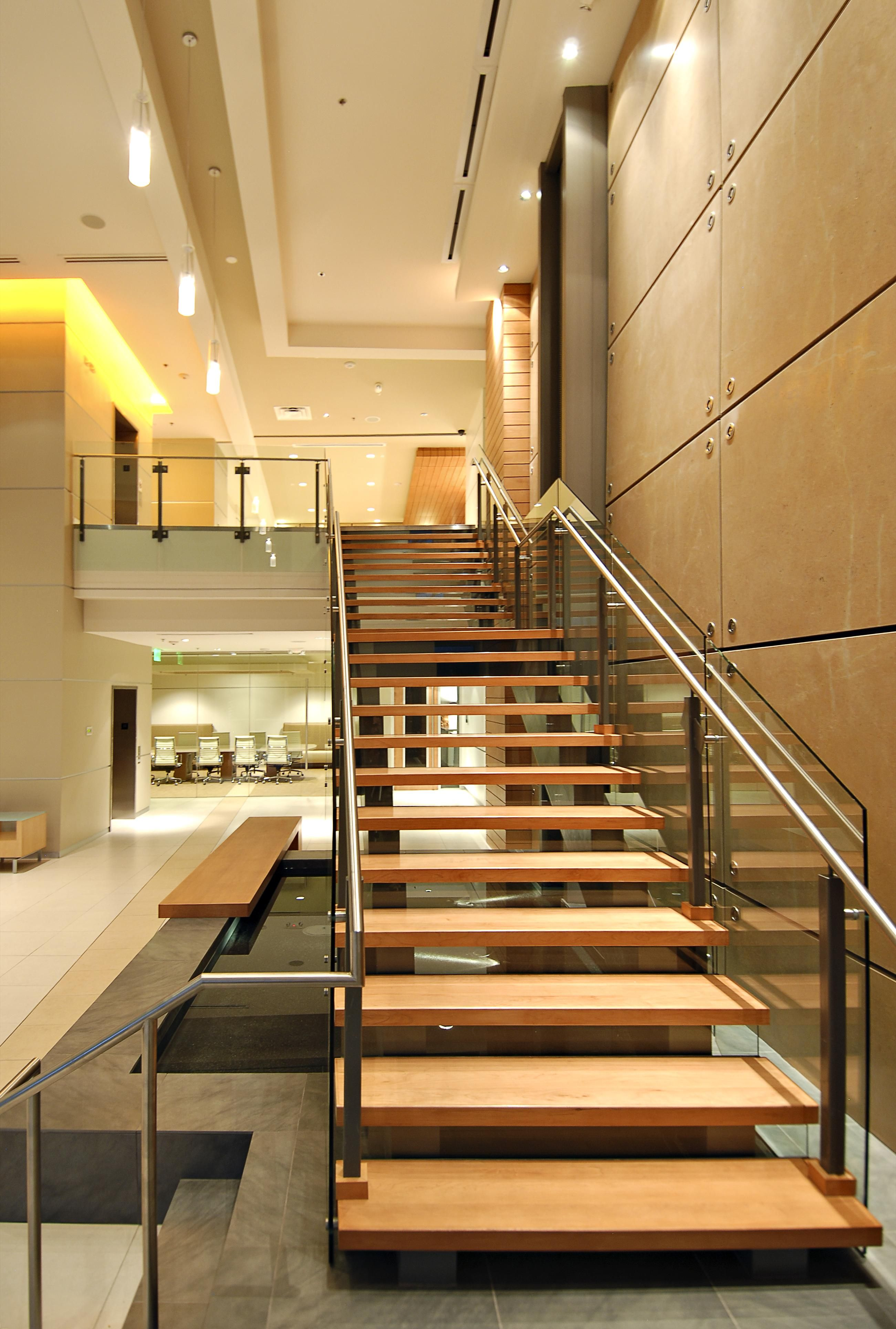 beautiful stairs in modern lobby staircase wainscoting  ...
