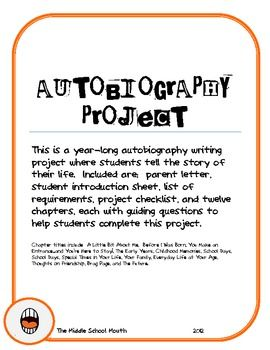 this is a year long autobiography writing project where students tell the story of their life included are parent letter student introduction sheet