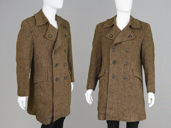Vintage 60s 70s HARRIS TWEED Coat Mens Peacoat Mens Overcoat Wool ...