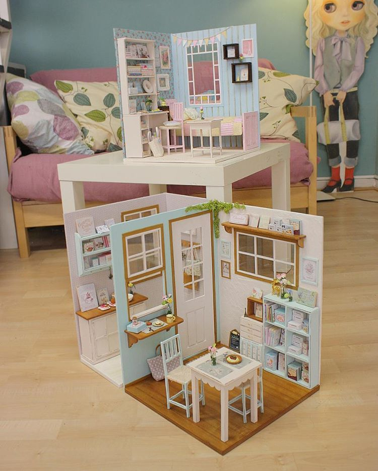 1 6 Scale Room Boxes Paper Doll House Barbie House Furniture Mini Doll House