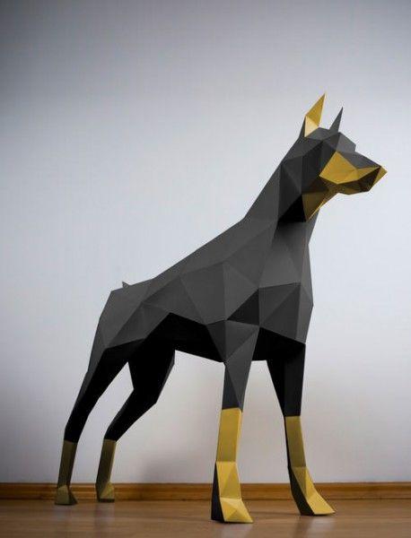 Dobermann schwarz & gold | Doberman | Paper animals, 3d