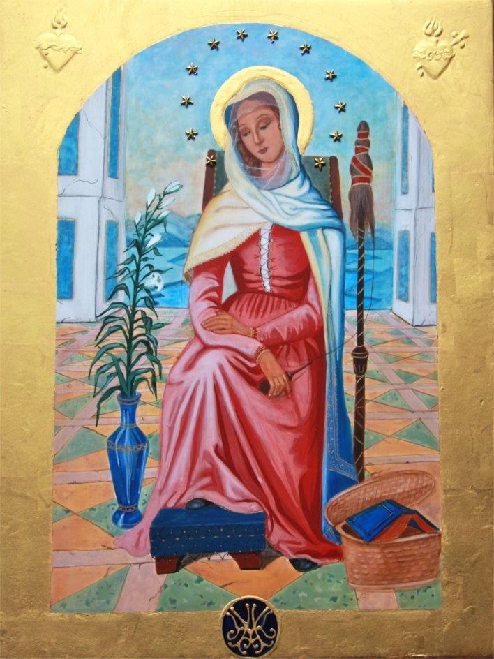I painted this image for a school in Texas, Mater Admirabilis is a fresco depicting the Virgin Mary, at the Trinita dei Monti, a church in Rome. It was painted by a young French girl, Pauline Perdrau, and has been associated with several miracles. Legend has it Pauline had been asked by the nuns at Trinity dei Monti to paint a mural of the Blessed Mother. After weeks of painting, Pauline finally finished her work. When the Mother Superior saw it, she said the colors were too bright and bold and
