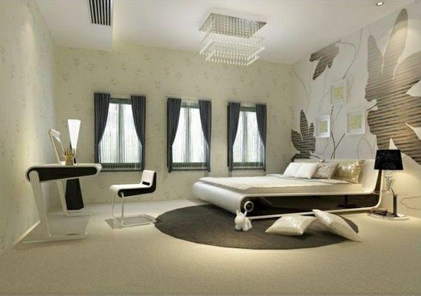 schlafzimmer design ideen schwarz-weiß weißes bett wand art - schlafzimmer ideen in wei