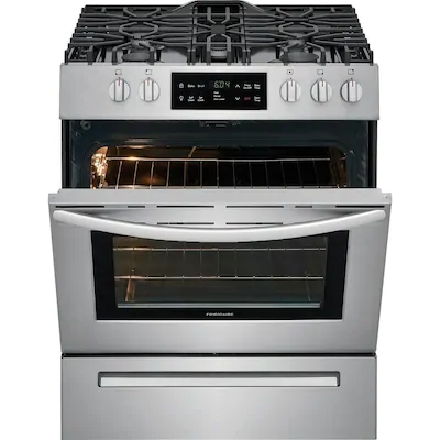 Frigidaire 5 Burners 5 Cu Ft Self Cleaning Slide In Gas Range Stainless Steel Common 30 In Self Cleaning Ovens Oven Cleaning Freestanding Electric Ranges