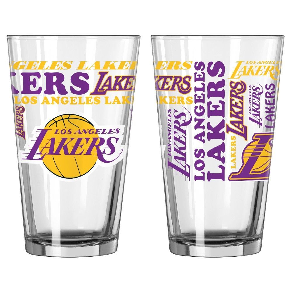 NBA Boelter 16 oz. Spirit Pint Glass -2 Pack - Los Angeles Lakers