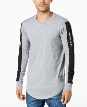 0374872bae5 G-Star Men's Swando Stripe Logo Long Sleeve T-Shirt, Created for Macy's -  Gray M