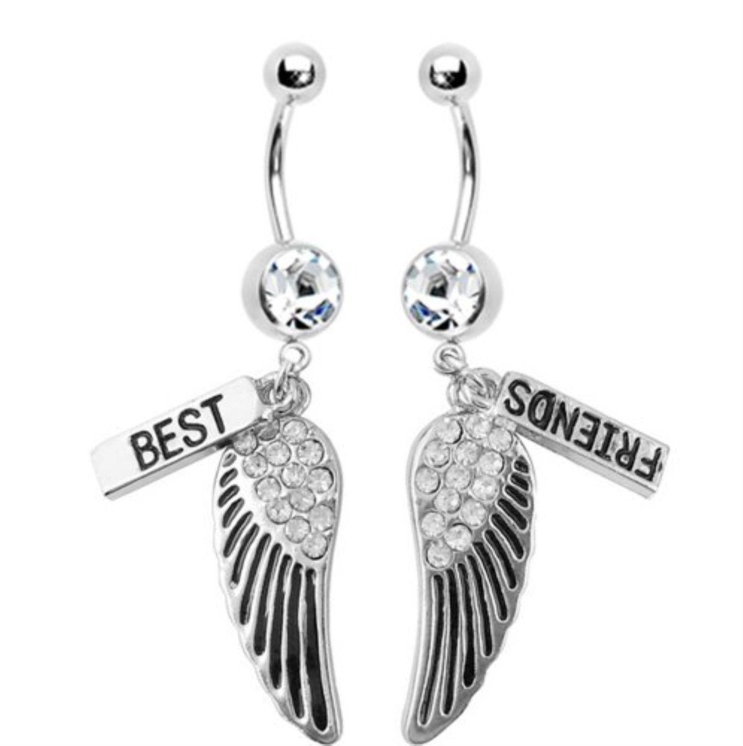 Body piercing retainer  BodyJYou Belly Button Rings Best Friends Wings Dangle G Lot of