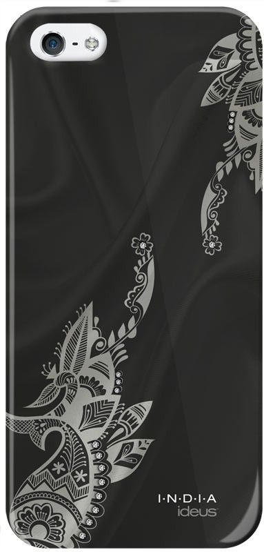 Glossy cover for iPhone 5S/5 India collection, #Elephants, #black - #stones & #henna