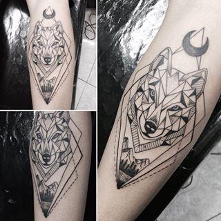 Geometric Wolf With Moon Forearm Tattoo Geometric Wolf Tattoo Geometric Tattoo Design Geometric Tattoo