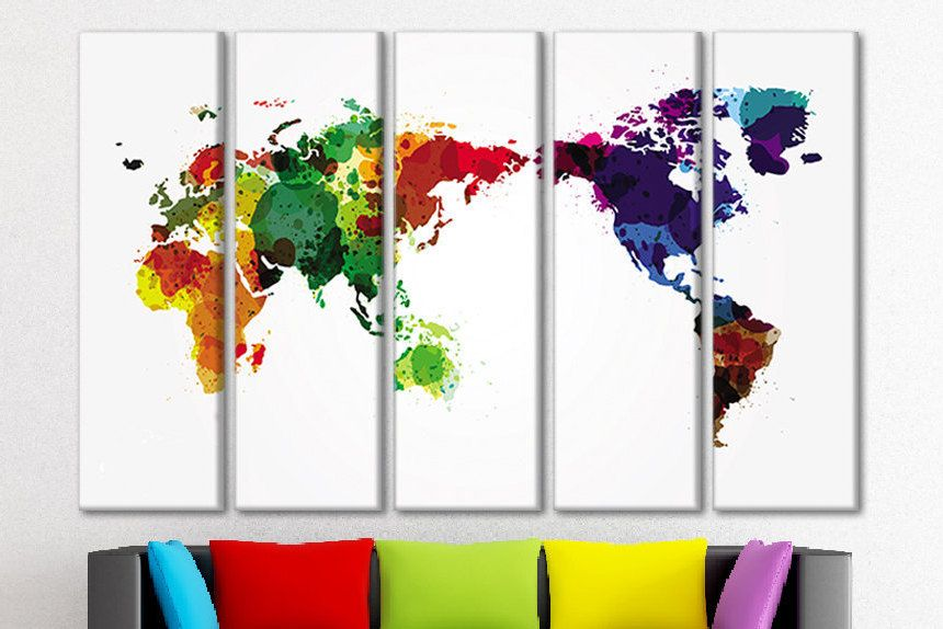 Watercolor world map colorful world map map of the world canvas watercolor world map colorful world map map of the world canvas large canvas wall art world map wall hanging maps wall art large world map gumiabroncs Images