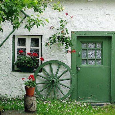 Simple Green Door And Nice Decoration Around Irish Cottage Beautiful Doors Doors