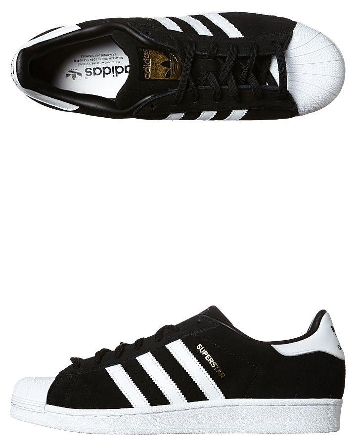 Superstar zapato de gamuza color negro, negro adidas y Adidas
