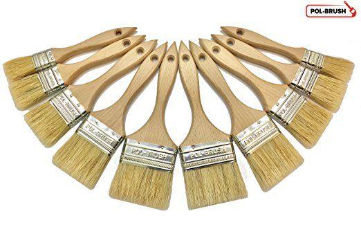 10 Pack - cerdas naturales Paint mangos de madera / Cepillos - para cualquier trabajo de pintura profesional, manchas de aceite, cera, barniz, pegamento, Arte y proyecto del arte;  Para utilizar profesionales y aficionados Proyectos