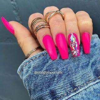 19 simple acrylic nails art designs 2018 with rhinestones